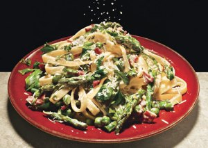 Fettucine with Peas, Asparagus and Pancetta