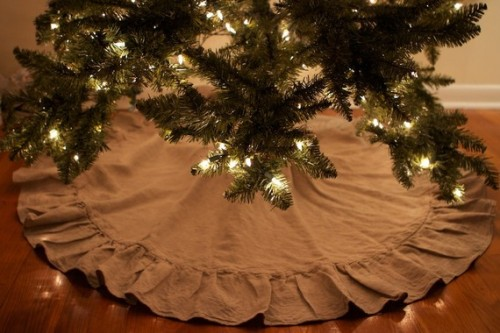 ruffled linen tree skirt